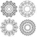 Four round frames for paintings and photographs for scrapbooking design on a white background Stock Photos