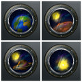 Four round portholes to open space planets sun and star vector illustration Royalty Free Stock Photos