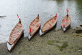 Four rowboats in false greek vancouver canada british columbia Royalty Free Stock Images