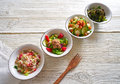 Four salad mix bowls healthy food Royalty Free Stock Photo