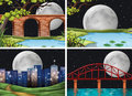 Four scenes of city on fullmoon night Royalty Free Stock Photo