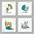 Four sea water activity linear icons