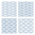 Four sea waves Seamless Patterns