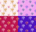 Four Seamless Abstract Floral Patterns. Set of backgrounds of different colors. Exclusive decorations Royalty Free Stock Photo