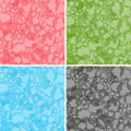 Four seamless abstract vector patterns different colors of translucent spherical bubbles Royalty Free Stock Images