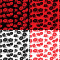 Four seamless floral patterns identical in different colors hand drawing vector illustration Stock Photos