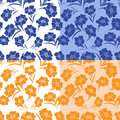 Four seamless herbal patterns identical in different colors hand drawing vector illustration Royalty Free Stock Photography
