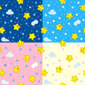 Four seamless patterns with happy stars kid illustration Stock Images