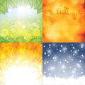 Four season background set vector Royalty Free Stock Photo