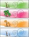 Four Season Trees Banner Stock Image