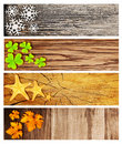 Four season wooden banners Royalty Free Stock Photos