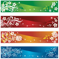 Four seasonal banners or bookmarks with flowers and snowflakes design this image is an illustration Stock Photography