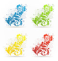 Four seasonal floral colorful set isolated illustration Stock Photos