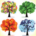 Four seasonal trees Royalty Free Stock Images