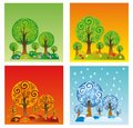 The four seasons composition shows changes in environment during year Stock Images