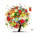 Four seasons concept art tree for your design this is file of eps format Stock Photo