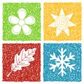 Four seasons doodle icons Royalty Free Stock Images