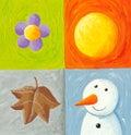 Four seasons elements Royalty Free Stock Photo