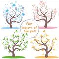 Four seasons. Illustration of tree and landscape in winter, spring, summer, autumn