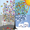 Four seasons illustration of tree representing the spring summer autumn winter Royalty Free Stock Photo