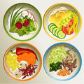 Four seasons plate diet seasonal food Stock Photo