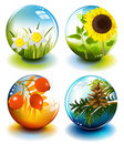 Four seasons spheres Stock Image
