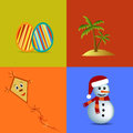 Four Seasons Symbols Illustrat...