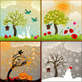 Four seasons themed illustrations set with apple tree birdhouse and surroundings birds pumpkin lanterns snowman Royalty Free Stock Photo