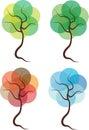 Four seasons trees illustration Royalty Free Stock Photo