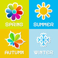 Four seasons vector illustration icons Stock Images