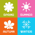 Four seasons vector illustration icons Stock Photography