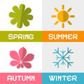 Four seasons vector illustration icons Royalty Free Stock Image