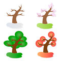 Four seasons vector illustration of paper tree in Royalty Free Stock Photography