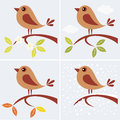 Four seasons vector illustration of tree branch and cute bird in Royalty Free Stock Images