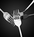 Four silver forks Royalty Free Stock Photo