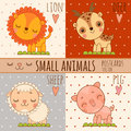 Four simple cute images of animals cartoon style lion deer sheep pig vector set Stock Photo