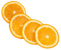 Four slices of orange Stock Photos