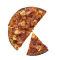 Four slices of pizza isolated over white background Royalty Free Stock Photo