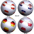 Four soccer-balls with flags Stock Photo