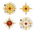 Four Solar Astral Symbols Royalty Free Stock Photos