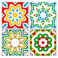 Four spanish tile patterns Royalty Free Stock Photo