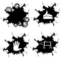 Four splotch with embedded dirt hand hog rings in black Stock Photography