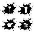 Four splotch and embedded limonada coffee beer and wine Stock Images