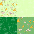 Four spring music seamless patterns. Royalty Free Stock Photo