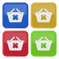 Four square color icons, shopping basket cancel Royalty Free Stock Photo