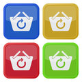 Four square color icons, shopping basket refresh Royalty Free Stock Photo