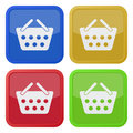 Four square color icons, shopping basket Royalty Free Stock Photo