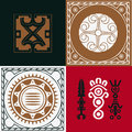 Four squares with national Indian ornaments Stock Photos