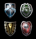 Four steel shields illustration of for the brave knights Royalty Free Stock Image