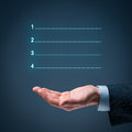 Four steps infographics with manager or businessman Royalty Free Stock Photos